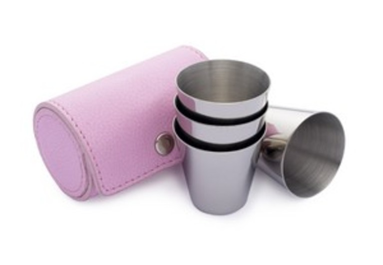 Pink Leather Set of Four Tot Cups