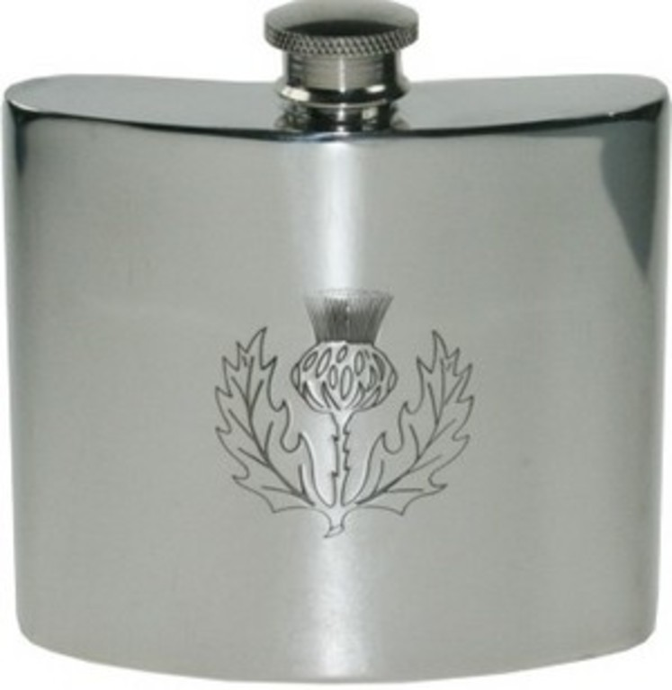 6oz Thistle Pewter Hip Flask