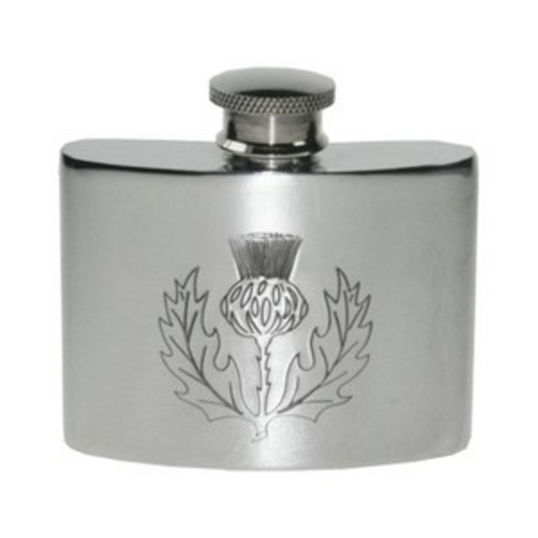 2oz Thistle Pewter Hip Flask