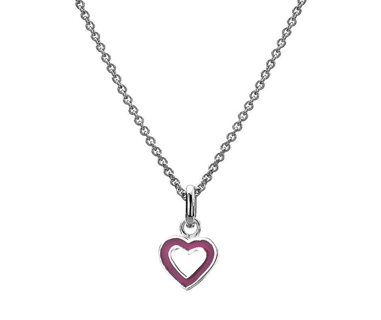 Silver Hollow Heart Child's Pendant